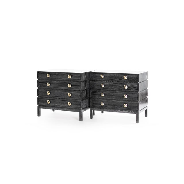 Black Ceruse Stacked Bedside Tables - a Pair For Sale - Image 4 of 11