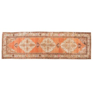 "Vintage Distressed Oushak Rug Runner - 3'5"" X 10'11"" For Sale"