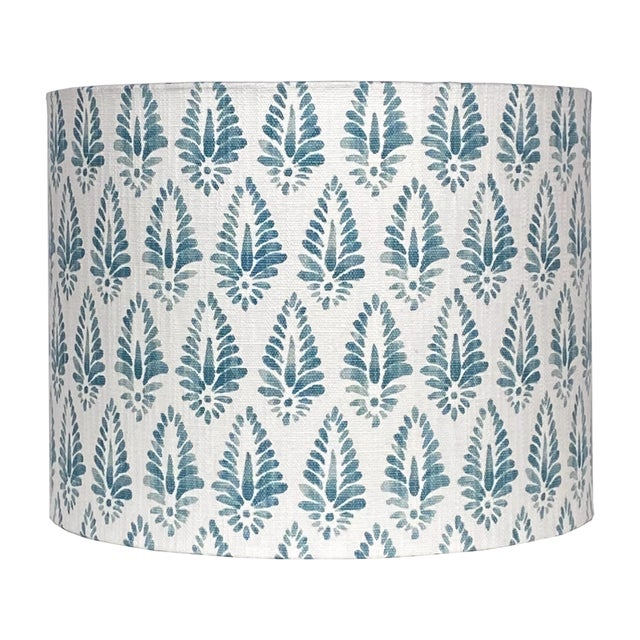 Farmhouse Blue Patterned Lamp Shade For Sale - Image 3 of 5