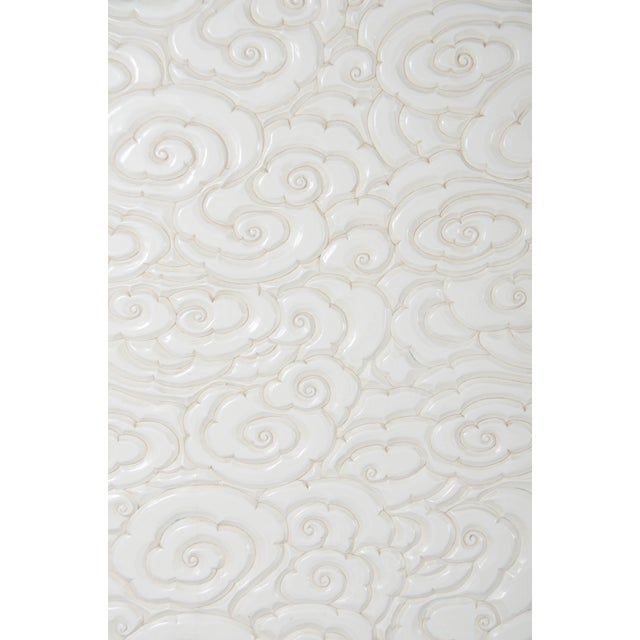 2010s Carved Floral 2-Door Armoire - Cream Lacquer by Robert Kuo, Hand Carved, Limited Edition For Sale - Image 5 of 7