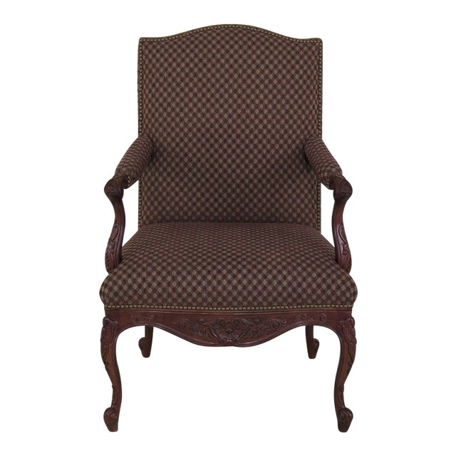 Sherrill French Louis XV Style Upholstered Arm Chair For Sale