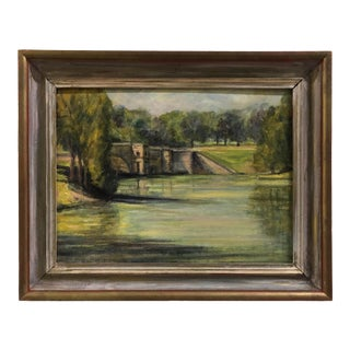 Plein Air Impressionist English Oil Painting, 1950s For Sale