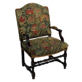 1650s Louis XIII French Baroque Needlepoint Armchairs - a Pair