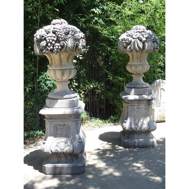 Pair of Italian Limestone Urns With Fruit and Floral Bouquets on Pedestals For Sale - Image 9 of 13