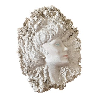 1980's Art Deco Female Wall Sculpture For Sale