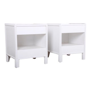 McGuire Hollywood Regency White Lacquered Rattan Nightstands, Newly Restored For Sale