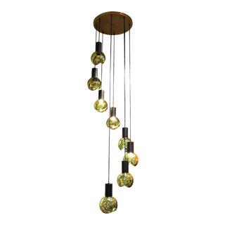 Gino Sarfatti Mid-Century Modern Italian Glass Orb Cascading Chandelier For Sale