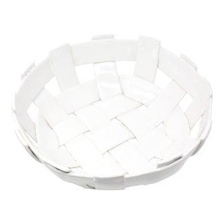 Vintage Handmade Ceramic Basket For Sale