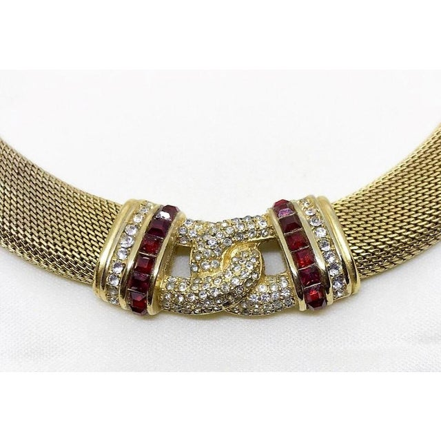 Christian Dior 1970s Christian Dior Woven Goldtone Necklace With Red Faceted Stones For Sale - Image 4 of 6