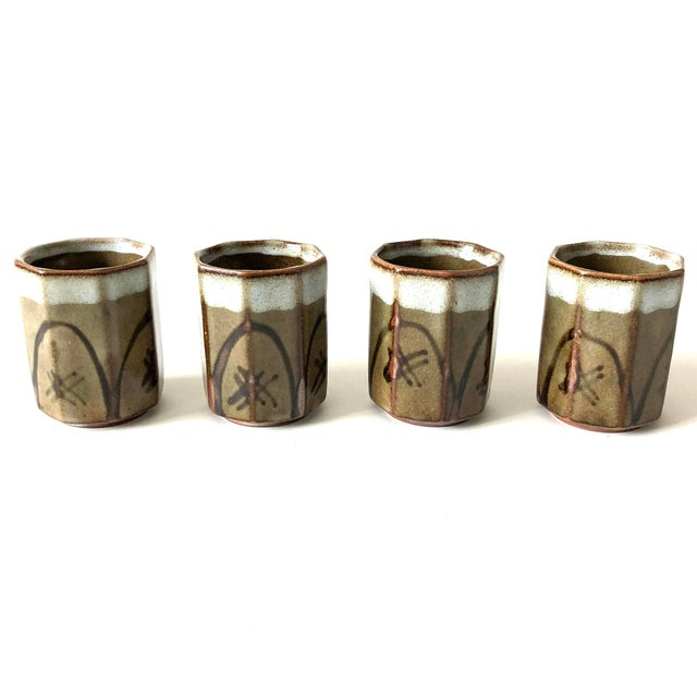 Stoneware Sake Cups, set of 4 For Sale In Austin - Image 6 of 6