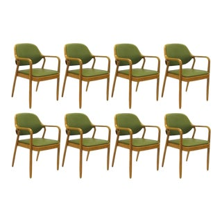 Green Don Petitt Bentwood Armchairs for Knoll - Set of 8 For Sale