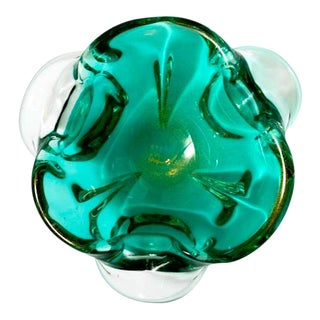 1950's Emerald Green Murano Glass Organic Bowl by Seguso, Italy For Sale