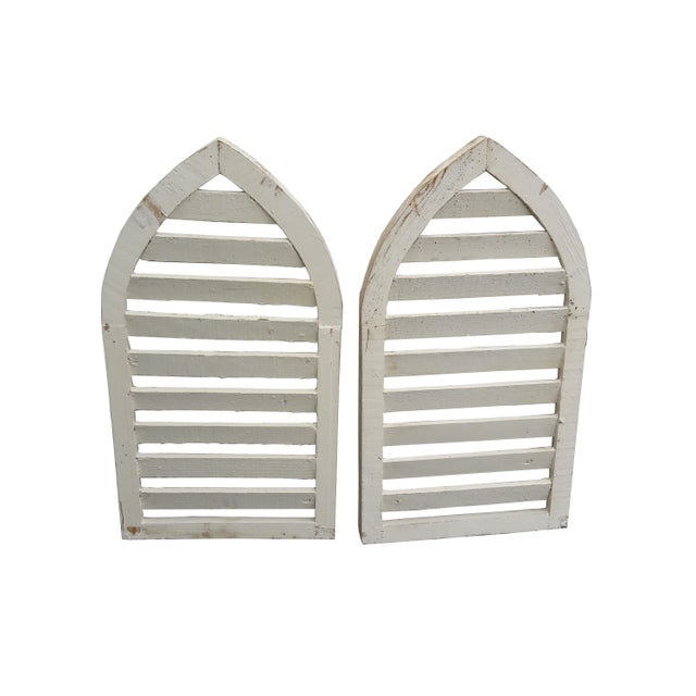 Farmhouse Pair Rustic Shabby Cottage Distressed Cathedral Shutter Window For Sale - Image 3 of 5