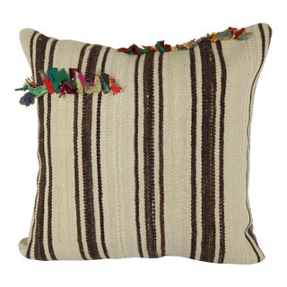 "Vintage Organic Turkish Hemp Kilim Pillow Cover 24"" X 24"" For Sale"