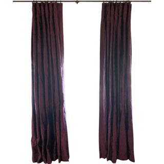 """Contemporary 97"""" Silk Curtains - 2 Curtain Panels For Sale"""