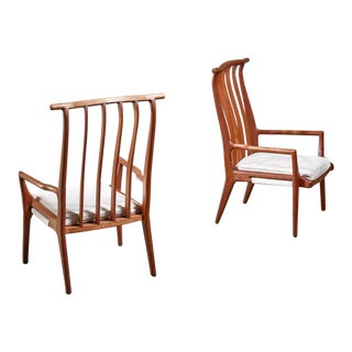 Richard Harrison Pair of Walnut Studio Lounge Chairs, Usa For Sale