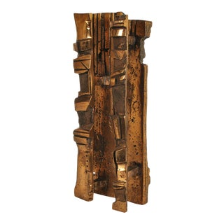 Bronze Brutalist Abstract Sculpture For Sale