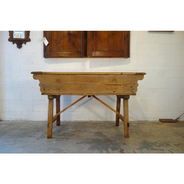 Italian 19th Century Italian Rustic Tuscan Farmhouse Console Table For Sale - Image 3 of 13