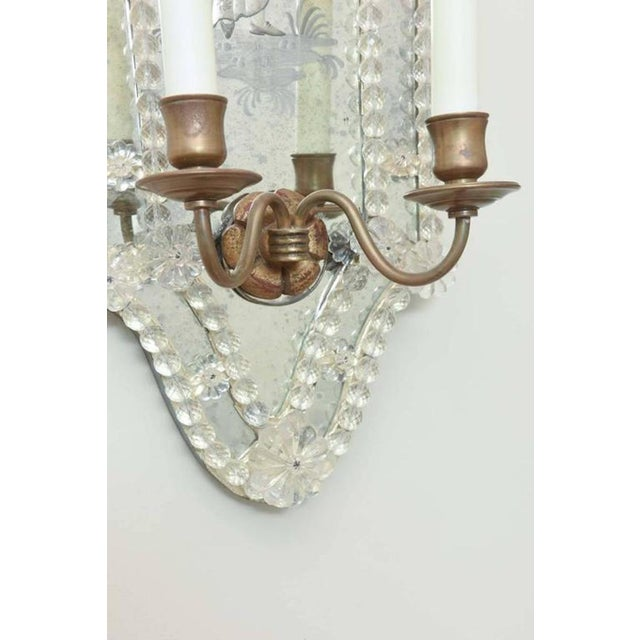 Gold Opposing Pair of Etched Venetian Mirrored Sconces. Circa 1940s. For Sale - Image 8 of 8