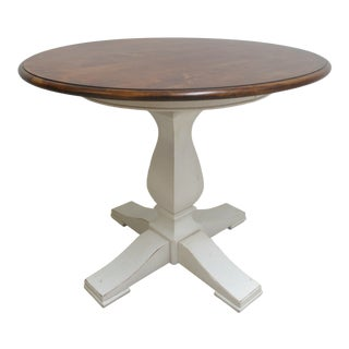 1990s Country Ethan Allen Painted Pedestal Dinette Center Table For Sale