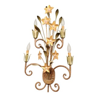 1950s Vintage Italian Tole Lighting Sconce For Sale