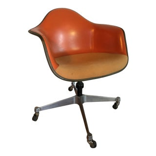 Mid-Century Modern Eames Herman Miller Covered Swivel Shell Armchair, 1960s For Sale