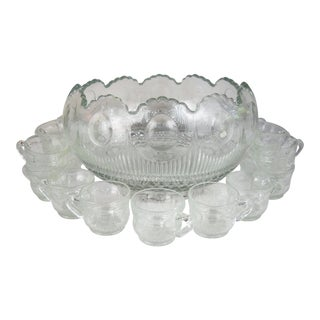 American Glass Punch Bowl & Cups, S/18