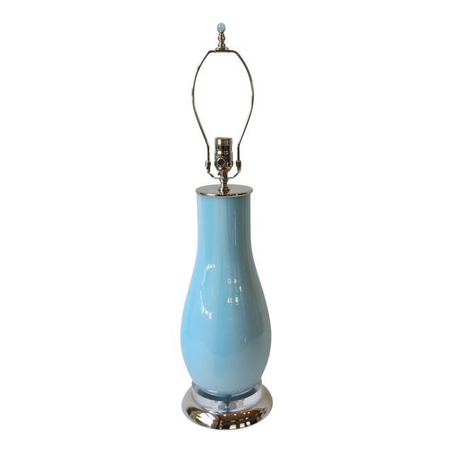 Pale Blue & White Swirl Glass Table Lamp - Image 1 of 6
