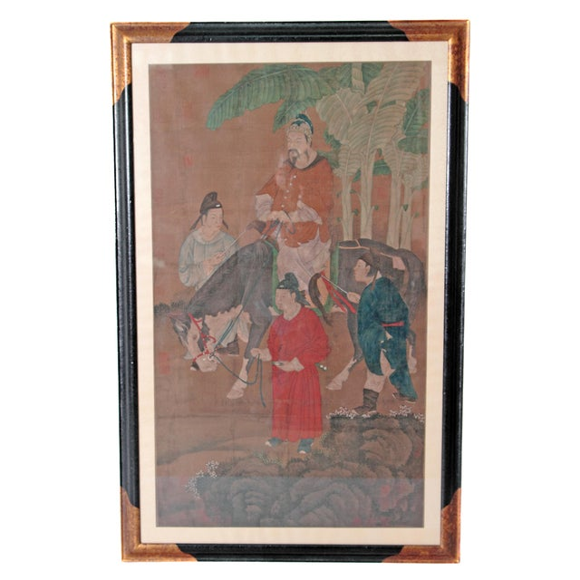 Chinese Scroll Painting of a Dignitary on Horseback For Sale - Image 11 of 11