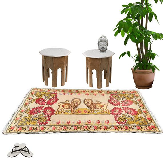Gorgeous Vintage Hand Knotted Wool Turkish Rug, Kilim Flatweave Rug, featuring Center Double Tibetan Style Lions,...