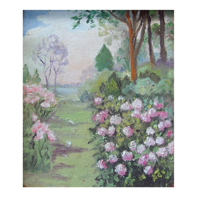 Rose Garden Path Painting For Sale
