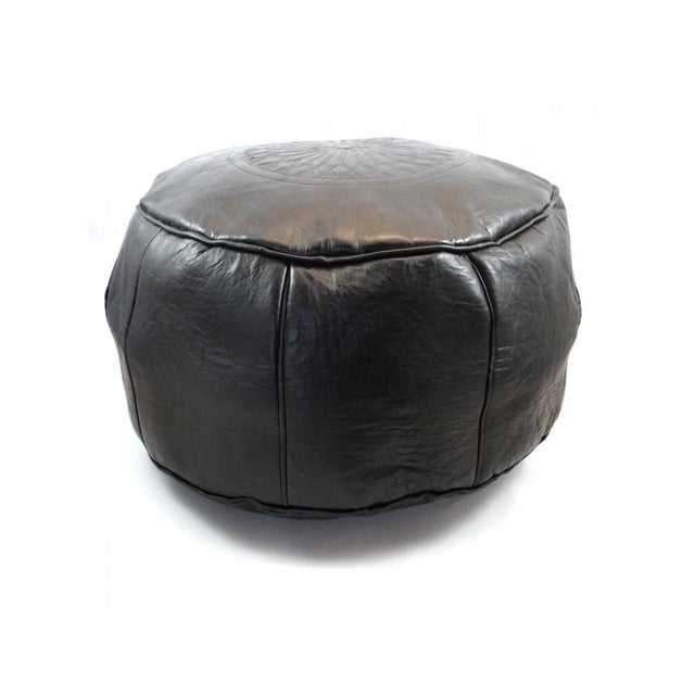 Black Leather Moroccan Pouf/Ottoman - Image 2 of 5