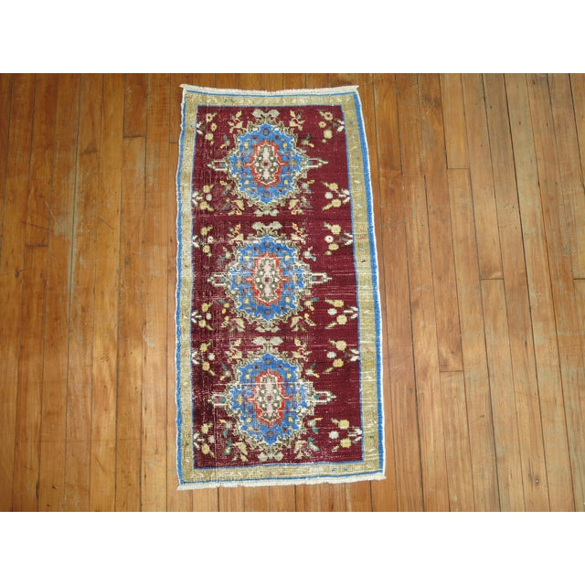 Boho Chic Vintage Anatolian Chinese Red Color Rug, 1'7'' x 3'2'' For Sale - Image 3 of 5