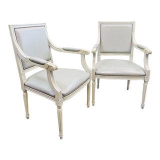 Louis XVI Cream Painted Open Arm Chairs - a Pair For Sale