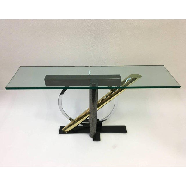 Mixed Metals and Glass Console Table by Kaizo Oto for DIA For Sale In Palm Springs - Image 6 of 9