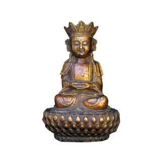 Chinese Bronze Sitting Buddha on Lotus Stand Statue For Sale