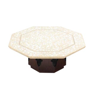 Large Harvey Probber Terrazzo Octagon Shape Top Coffee Table For Sale