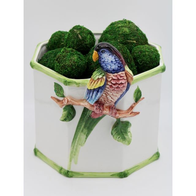 A superb Italian Ceramic Planter with a beautiful, sculptural parrot perched on a branch on the exterior. Unique octagon...