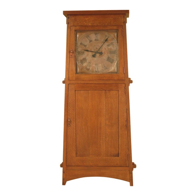 Stickley Monumental Mission Oak Grandfather Clock For Sale