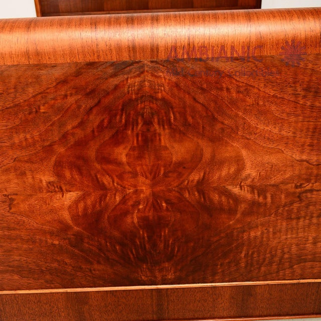 Art Deco Style Full Size Bed, Walnut Wood - Image 8 of 8