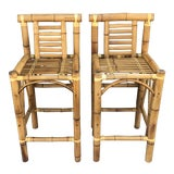 Image of Boho Chic Chunky Bamboo Bar Stools- A Pair For Sale