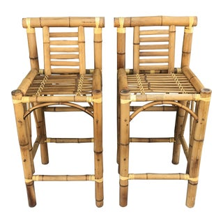 Boho Chic Chunky Bamboo Bar Stools- A Pair For Sale