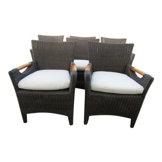 Wicker & Teak Culebra Club Arm Chair by Kingsley Bate-Set of 6 For Sale