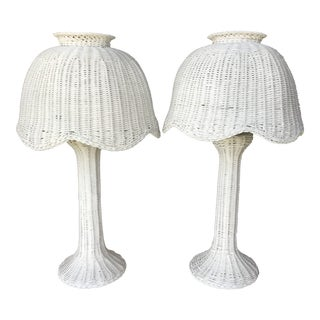 Vintage White Wicker Lamps and Shades For Sale