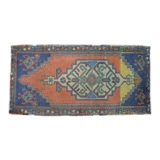 """Front of Bath Kitchen Sink Rug Hand Made Bath Mat Faded Mini Rug 1'9"""" X 3'5"""" For Sale"""