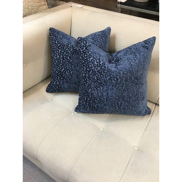 2010s Contemporary Kiribati Twilight Animal Cheetah Fabric Pillows - a Pair For Sale - Image 5 of 5