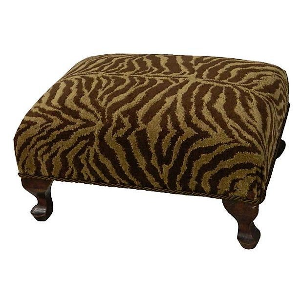 Vintage Chenille Tiger Ottoman - Image 1 of 4