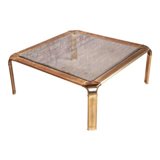 John Widdicomb Hollywood Regency Brass and Glass Cocktail Table, Circa 1970s For Sale