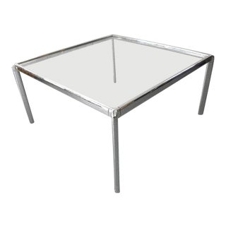 1970s Mid Century Modern Chrome and Glass Coffee Table For Sale