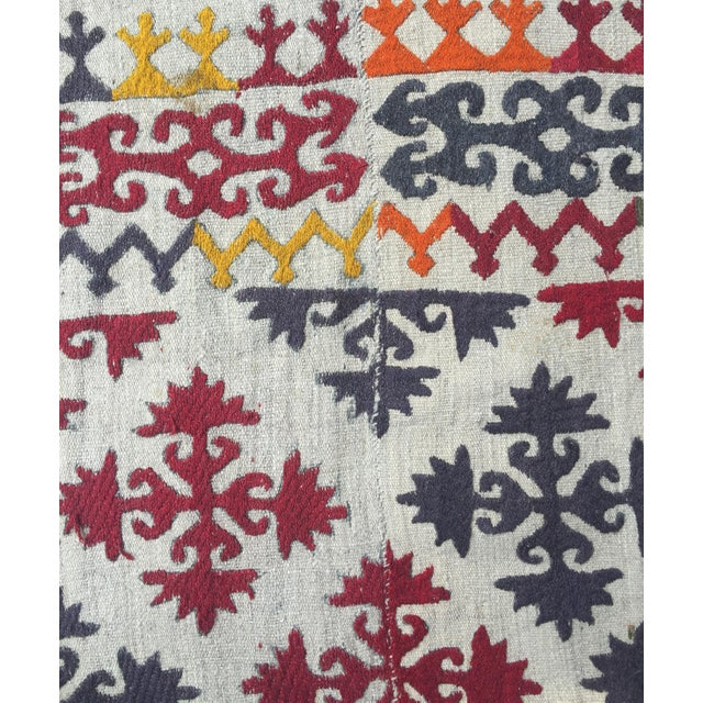 Abstract 1950s Boho Chic Embroidered Kilim With Pop Colors For Sale - Image 3 of 8